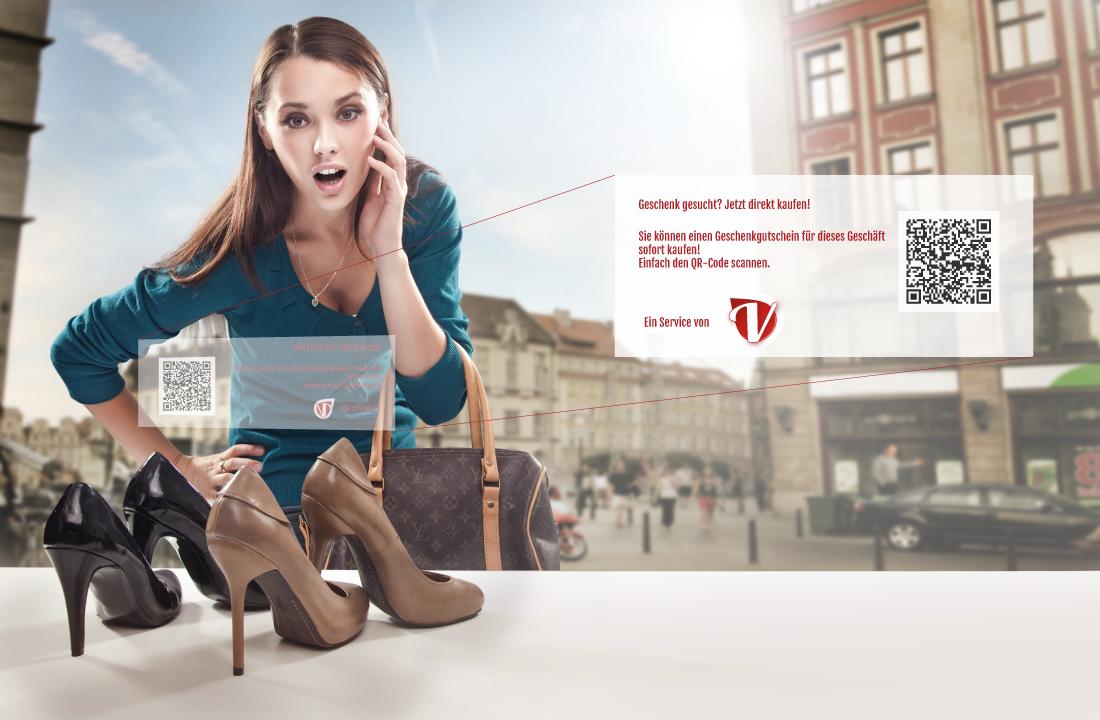 Mit QR-Codes kauft man Voucheria Gutscheine direkt überall. Im Schaufenster oder sonstwo.