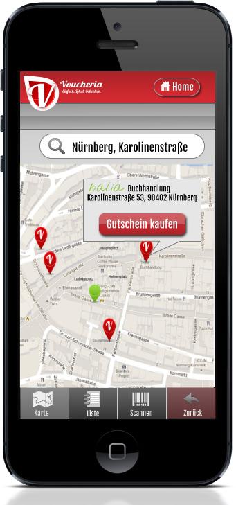 Mit Voucheria werden Sie auf einer interaktiven Karte von Ihren Kunden gefunden.