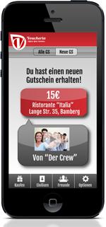 Bekommt man einen neuen Voucheria Gutschein, wird das direkt in der App angezeigt.